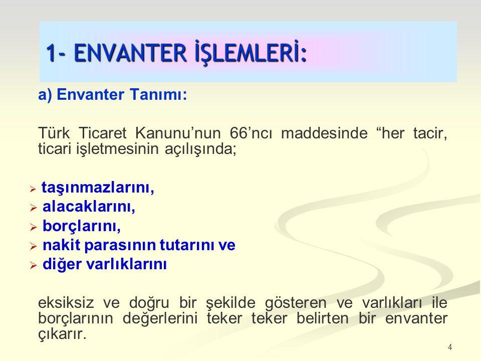 4 1- ENVANTER İŞLEMLERİ: a) Envanter Tanımı: Türk Ticaret Kanunu'nun 66'ncı maddesinde her tacir, ticari işletmesinin açılışında;  taşınmazlarını,  alacaklarını,  borçlarını,  nakit parasının tutarını ve  diğer varlıklarını eksiksiz ve doğru bir şekilde gösteren ve varlıkları ile borçlarının değerlerini teker teker belirten bir envanter çıkarır.