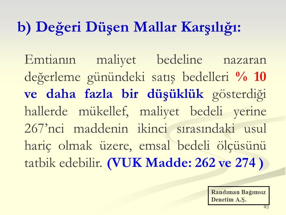 45 b) Değeri Düşen Mallar Karşılığı: Randıman Bağımsız Denetim A.Ş. Emtianın maliyet bedeline nazaran değerleme günündeki satış bedelleri % 10 ve daha