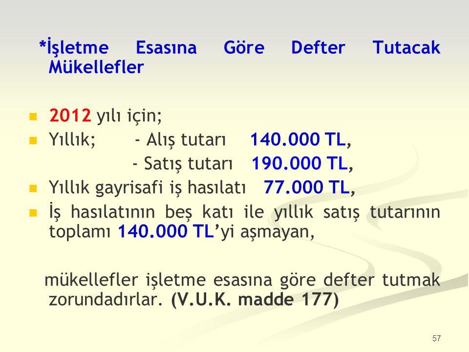 57 *İşletme Esasına Göre Defter Tutacak Mükellefler 2012 yılı için; Yıllık; - Alış tutarı 140.000 TL, - Satış tutarı 190.000 TL, Yıllık gayrisafi iş h