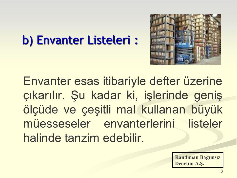 8 b) Envanter Listeleri : Envanter esas itibariyle defter üzerine çıkarılır. Şu kadar ki, işlerinde geniş ölçüde ve çeşitli mal kullanan büyük müesses