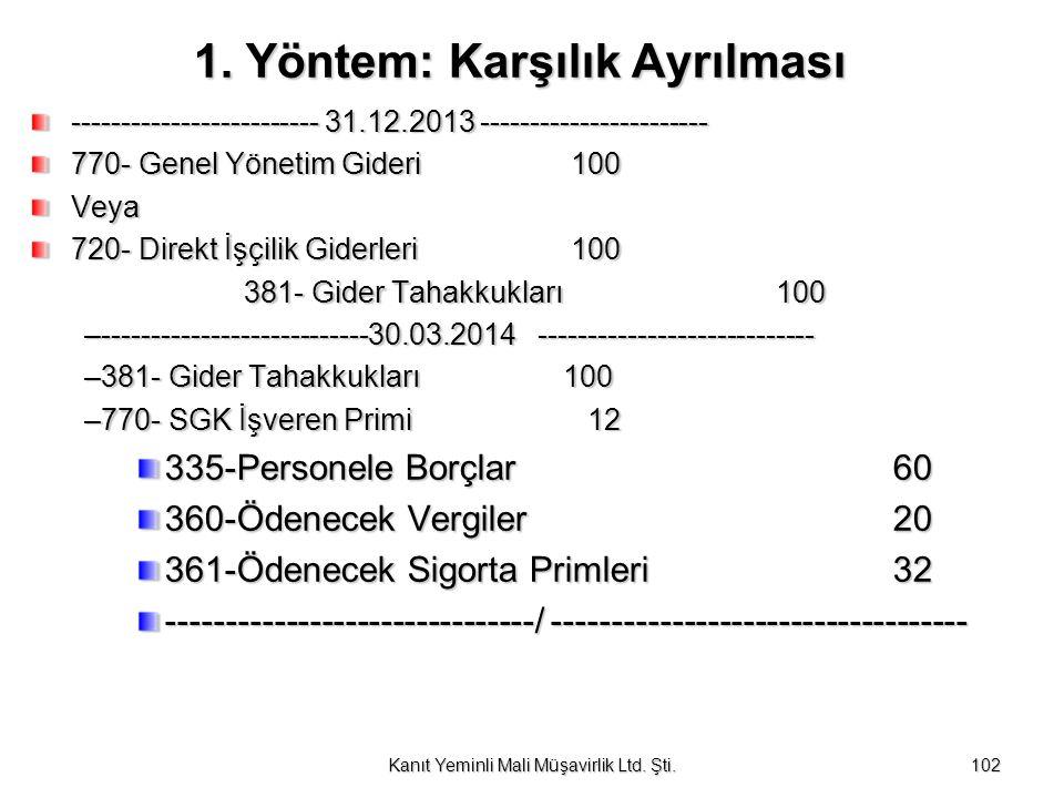 1. Yöntem: Karşılık Ayrılması 1. Yöntem: Karşılık Ayrılması ------------------------- 31.12.2013 ----------------------- 770- Genel Yönetim Gideri 100