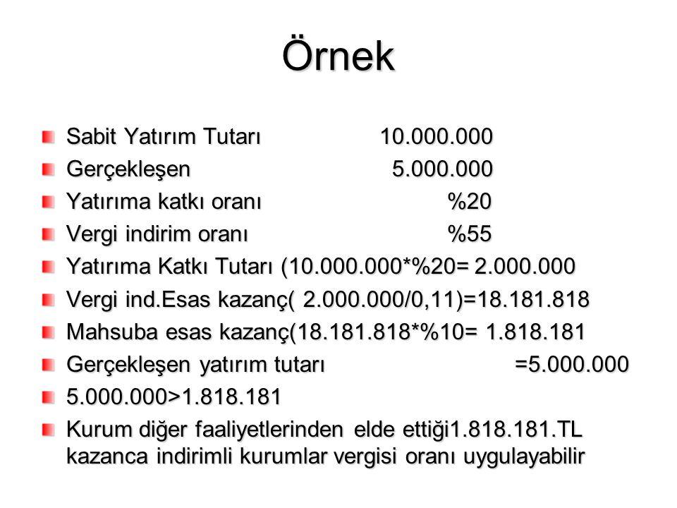 Örnek Sabit Yatırım Tutarı10.000.000 Gerçekleşen 5.000.000 Yatırıma katkı oranı%20 Vergi indirim oranı%55 Yatırıma Katkı Tutarı (10.000.000*%20= 2.000