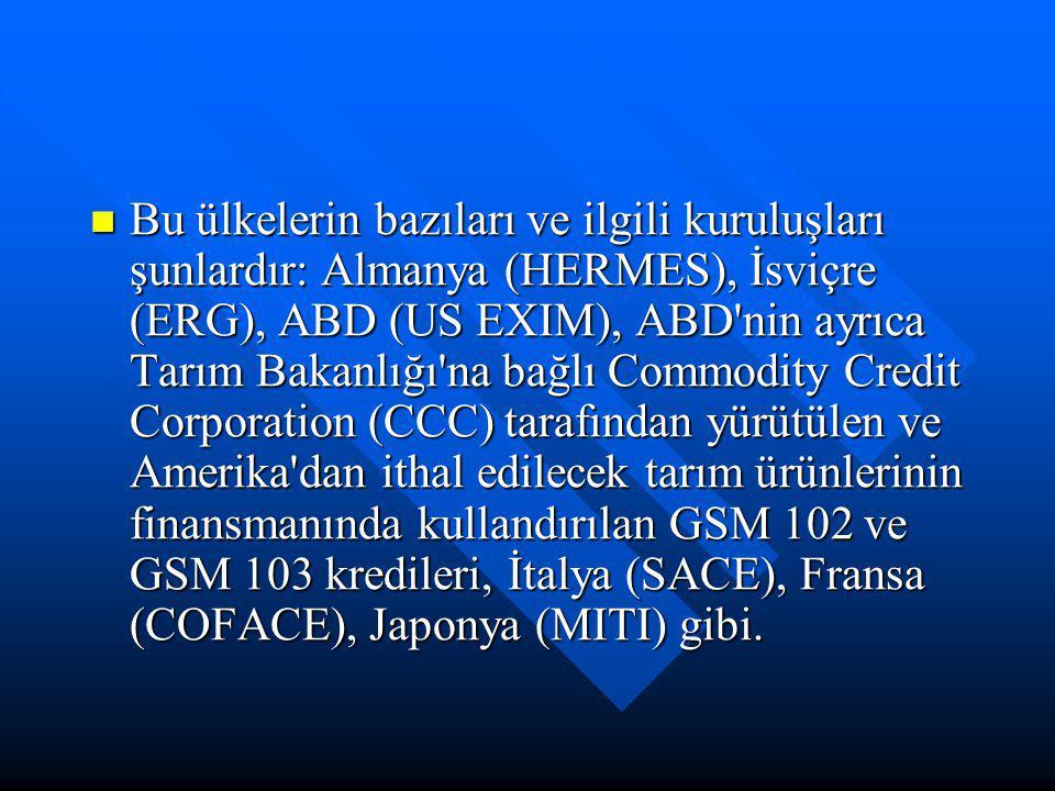 Bu ülkelerin bazıları ve ilgili kuruluşları şunlardır: Almanya (HERMES), İsviçre (ERG), ABD (US EXIM), ABD'nin ayrıca Tarım Bakanlığı'na bağlı Commodi