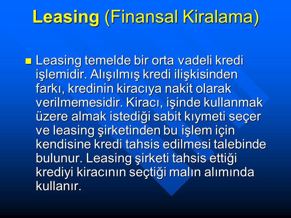 Leasing (Finansal Kiralama) Leasing temelde bir orta vadeli kredi işlemidir. Alışılmış kredi ilişkisinden farkı, kredinin kiracıya nakit olarak verilm