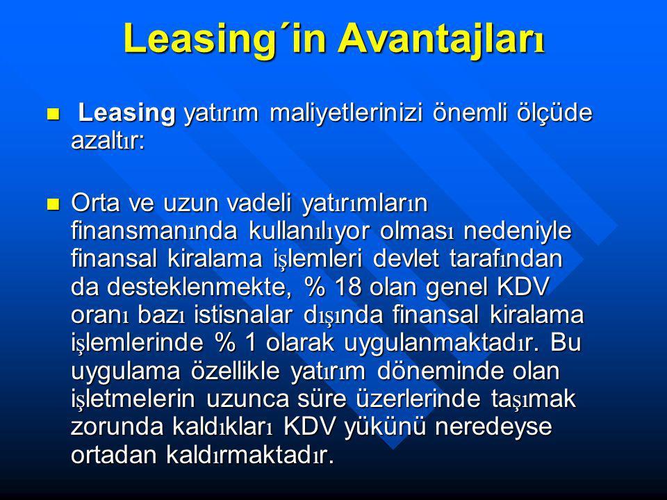 Leasing´in Avantajlar ı Leasing yat ı r ı m maliyetlerinizi önemli ölçüde azalt ı r: Leasing yat ı r ı m maliyetlerinizi önemli ölçüde azalt ı r: Orta