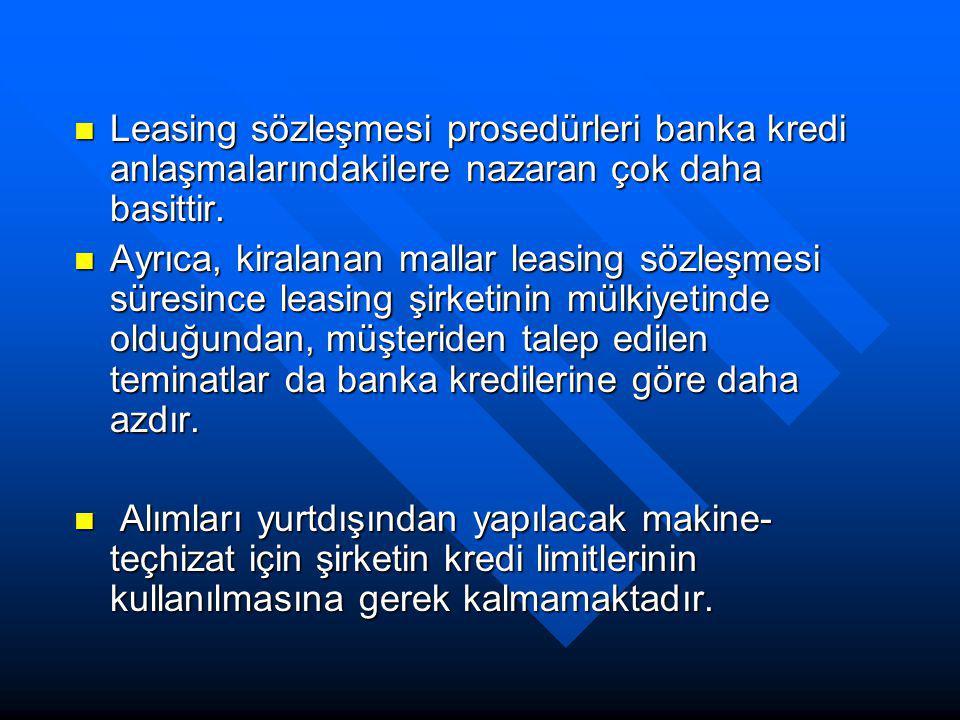 Leasing sözleşmesi prosedürleri banka kredi anlaşmalarındakilere nazaran çok daha basittir. Leasing sözleşmesi prosedürleri banka kredi anlaşmalarında