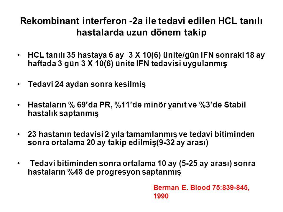 Rekombinant interferon -2a ile tedavi edilen HCL tanılı hastalarda uzun dönem takip HCL tanılı 35 hastaya 6 ay 3 X 10(6) ünite/gün IFN sonraki 18 ay h