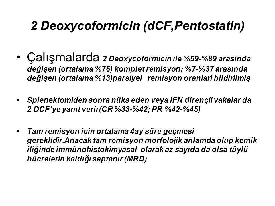 2 Deoxycoformicin (dCF,Pentostatin) Çalışmalarda 2 Deoxycoformicin ile %59-%89 arasında değişen (ortalama %76) komplet remisyon; %7-%37 arasında değiş