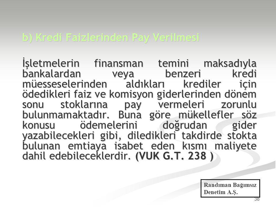38 b) Kredi Faizlerinden Pay Verilmesi İşletmelerin finansman temini maksadıyla bankalardan veya benzeri kredi müesseselerinden aldıkları krediler içi