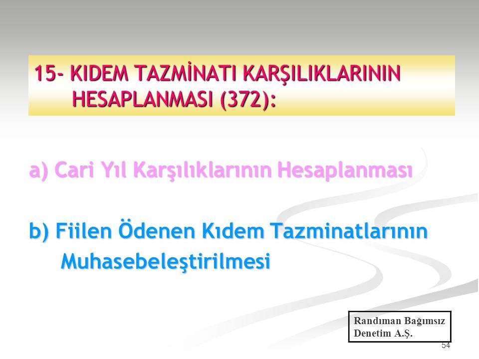 54 15- KIDEM TAZMİNATI KARŞILIKLARININ HESAPLANMASI (372): a) Cari Yıl Karşılıklarının Hesaplanması b) Fiilen Ödenen Kıdem Tazminatlarının Muhasebeleş