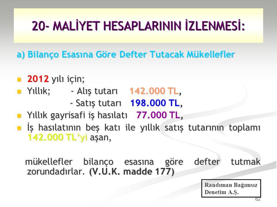 62 20- MALİYET HESAPLARININ İZLENMESİ: a) Bilanço Esasına Göre Defter Tutacak Mükellefler 2012 yılı için; 2012 yılı için; Yıllık; - Alış tutarı 142.00