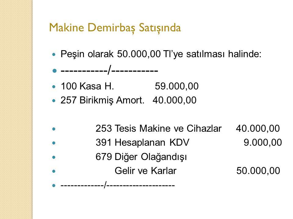 Makine Demirbaş Satışında Peşin olarak 50.000,00 Tl'ye satılması halinde: -----------/----------- 100 Kasa H.