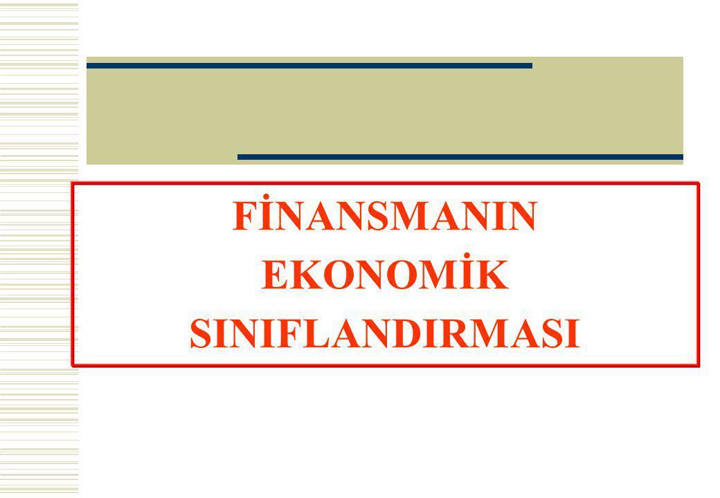 FİNANSMANIN EKONOMİK SINIFLANDIRMASI