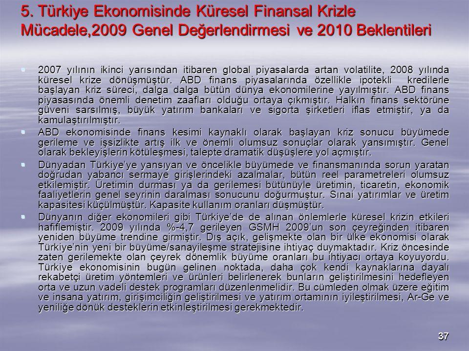 3737 5. Türkiye Ekonomisinde Küresel Finansal Krizle Mücadele,2009 Genel Değerlendirmesi ve 2010 Beklentileri  2007 yılının ikinci yarısından itibare