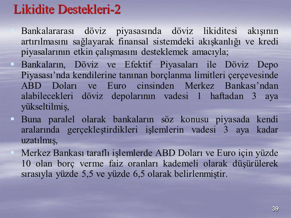 39 Likidite Destekleri-2   Bankalararası döviz piyasasında döviz likiditesi akışının artırılmasını sağlayarak finansal sistemdeki akışkanlığı ve kre