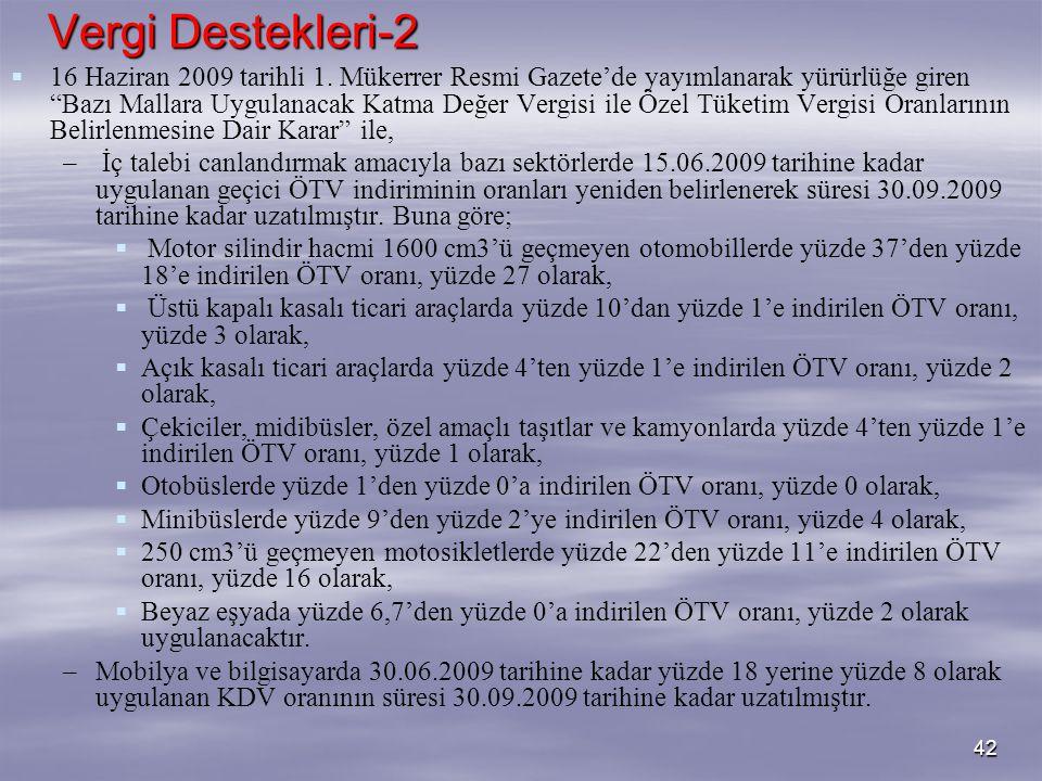 """42 Vergi Destekleri-2   16 Haziran 2009 tarihli 1. Mükerrer Resmi Gazete'de yayımlanarak yürürlüğe giren """"Bazı Mallara Uygulanacak Katma Değer Vergi"""