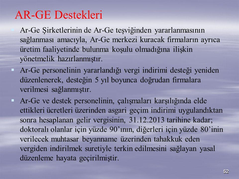 52 AR-GE Destekleri   Ar-Ge Şirketlerinin de Ar-Ge teşviğinden yararlanmasının sağlanması amacıyla, Ar-Ge merkezi kuracak firmaların ayrıca üretim f