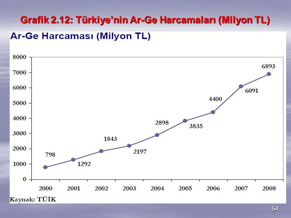 54 Grafik 2.12: Türkiye'nin Ar-Ge Harcamaları (Milyon TL)