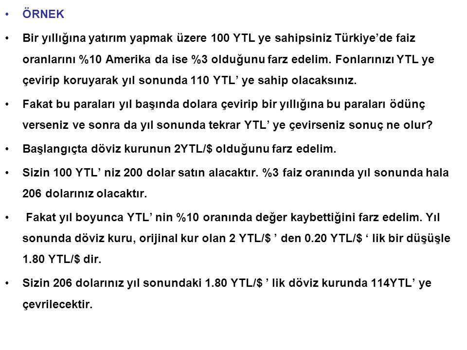 ÖRNEK Bir yıllığına yatırım yapmak üzere 100 YTL ye sahipsiniz Türkiye'de faiz oranlarını %10 Amerika da ise %3 olduğunu farz edelim.