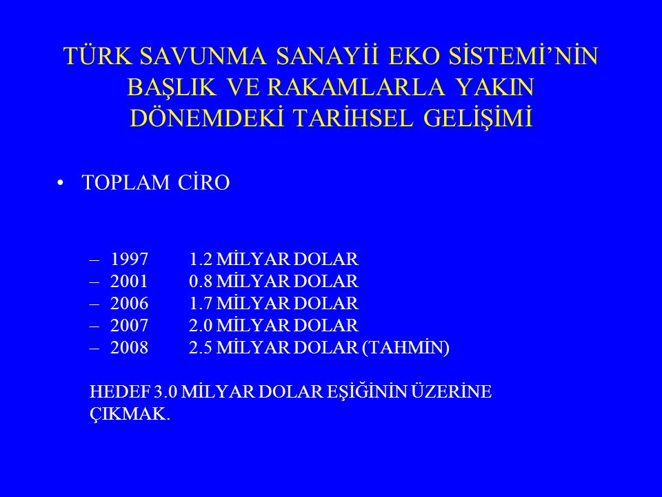 TÜRK SAVUNMA SANAYİİ EKO SİSTEMİ'NİN BAŞLIK VE RAKAMLARLA YAKIN DÖNEMDEKİ TARİHSEL GELİŞİMİ TOPLAM CİRO –19971.2 MİLYAR DOLAR –20010.8 MİLYAR DOLAR –2