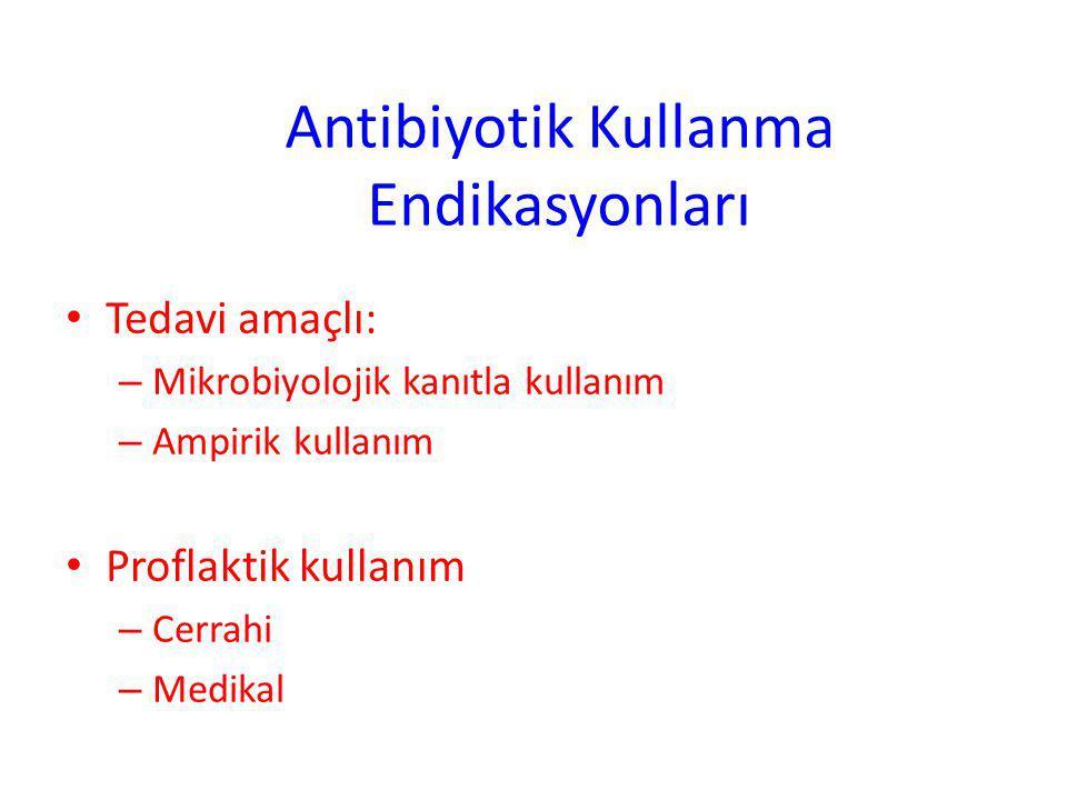 Antibiyotik Kullanma Endikasyonları Tedavi amaçlı: – Mikrobiyolojik kanıtla kullanım – Ampirik kullanım Proflaktik kullanım – Cerrahi – Medikal 2 / 1