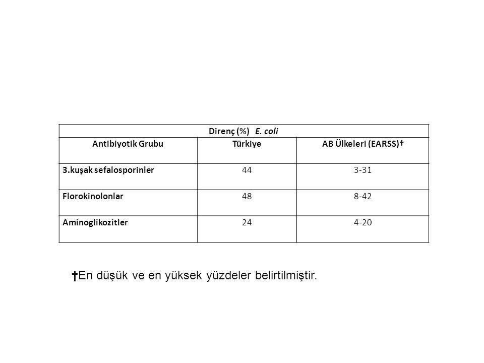 Direnç (%) E. coli Antibiyotik GrubuTürkiyeAB Ülkeleri (EARSS)† 3.kuşak sefalosporinler443-31 Florokinolonlar488-42 Aminoglikozitler244-20 †En düşük v
