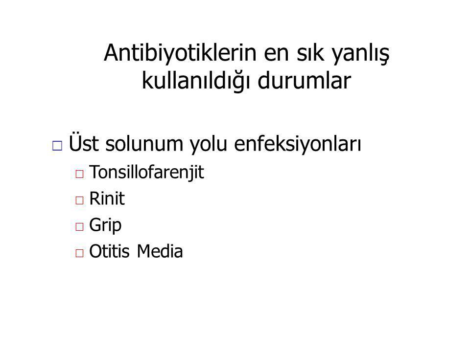 Antibiyotiklerin en sık yanlış kullanıldığı durumlar Üst solunum yolu enfeksiyonları Tonsillofarenjit Rinit Grip Otitis Media