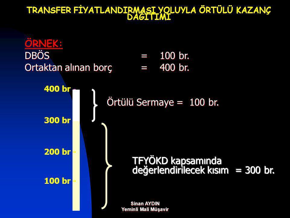 Sinan AYDIN Yeminli Mali Müşavir TRANSFER FİYATLANDIRMASI YOLUYLA ÖRTÜLÜ KAZANÇ DAĞITIMI ÖRNEK: DBÖS = 100 br.