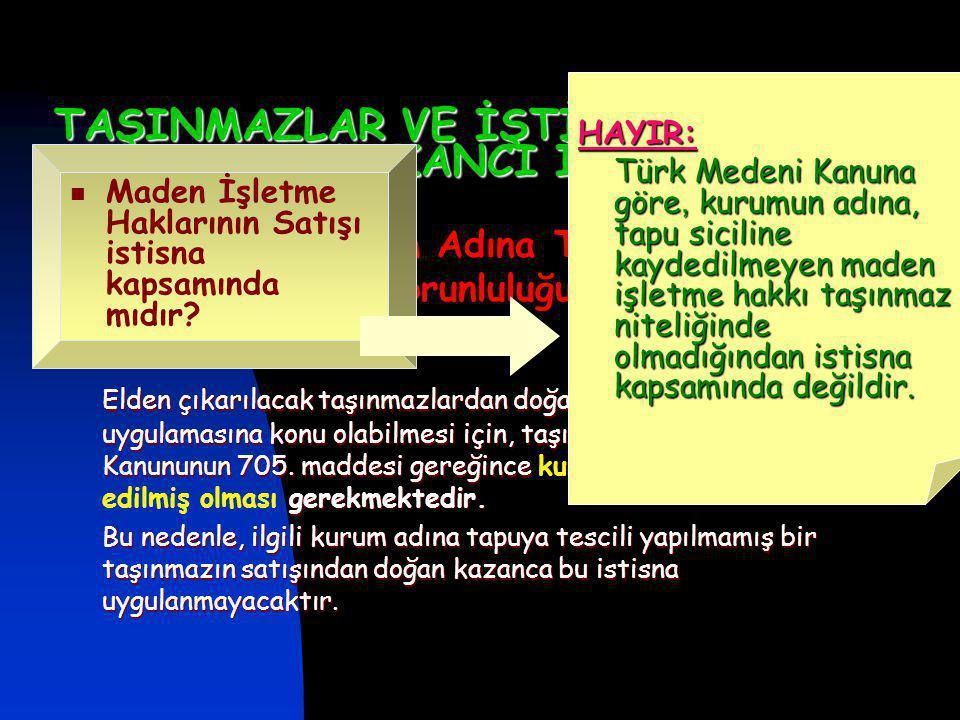 TAŞINMAZLAR VE İŞTİRAK HİSSELERİ SATIŞ KAZANCI İSTİSNASI Taşınmazın Kurum Adına Tapuya Tescil Edilmiş Olması Zorunluluğu Elden çıkarılacak taşınmazlardan doğacak kazancın, bu istisna uygulamasına konu olabilmesi için, taşınmazın Türk Medeni Kanununun 705.