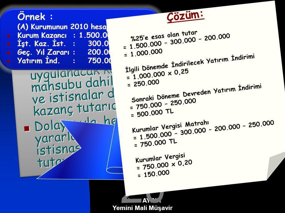 YATIRIM İNDİRİMİ İSTİSNASI (2010 Yılında Geçerli Olan Uygulama) GVK'nın geçici 69.