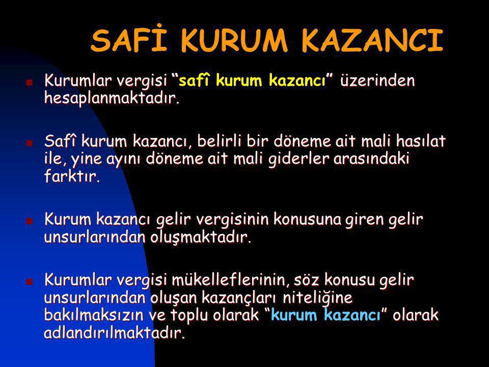 SAFİ KURUM KAZANCI Kurumlar vergisi üzerinden hesaplanmaktadır.