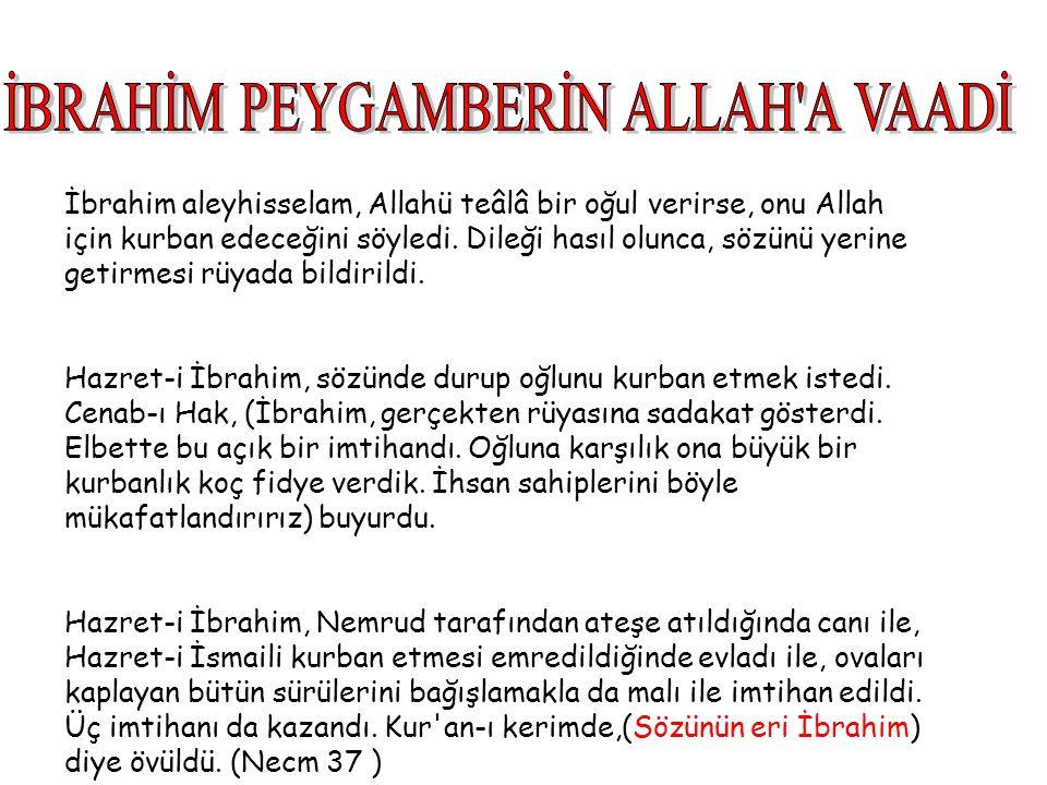İbrahim aleyhisselam, Allahü teâlâ bir oğul verirse, onu Allah için kurban edeceğini söyledi. Dileği hasıl olunca, sözünü yerine getirmesi rüyada bild