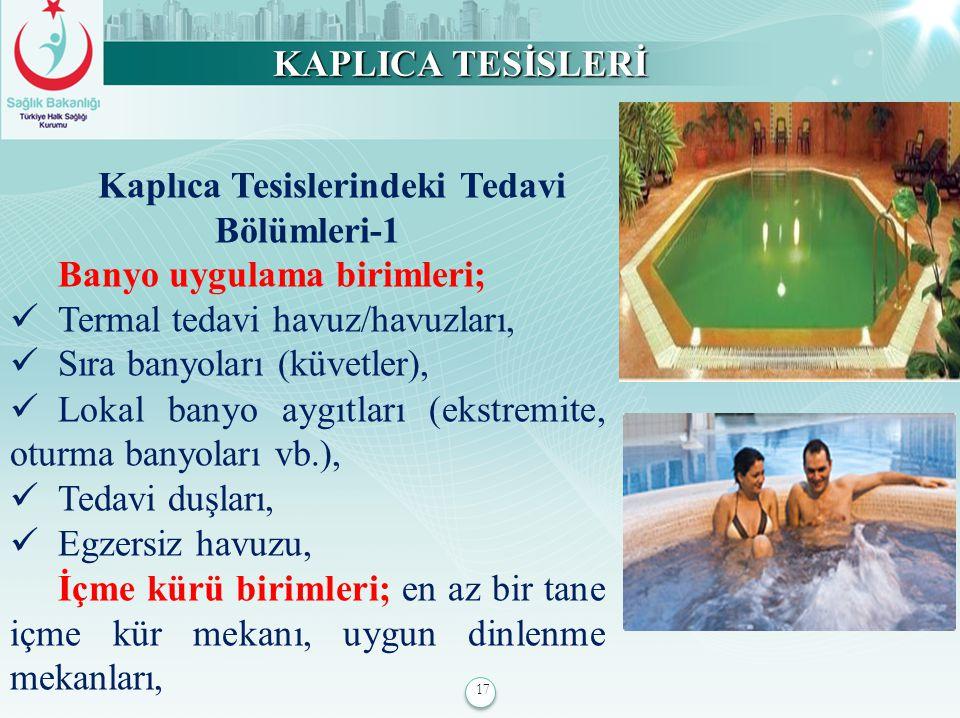 17 KAPLICA TESİSLERİ Kaplıca Tesislerindeki Tedavi Bölümleri-1 Banyo uygulama birimleri; Termal tedavi havuz/havuzları, Sıra banyoları (küvetler), Lok