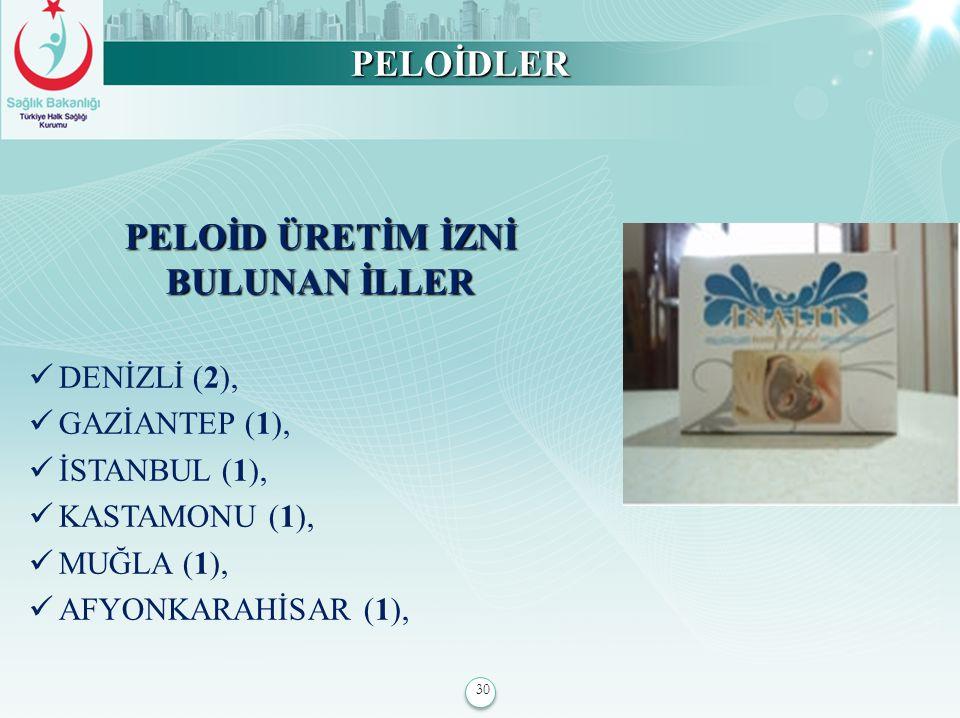 30 PELOİDLER PELOİD ÜRETİM İZNİ BULUNAN İLLER DENİZLİ (2), GAZİANTEP (1), İSTANBUL (1), KASTAMONU (1), MUĞLA (1), AFYONKARAHİSAR (1),