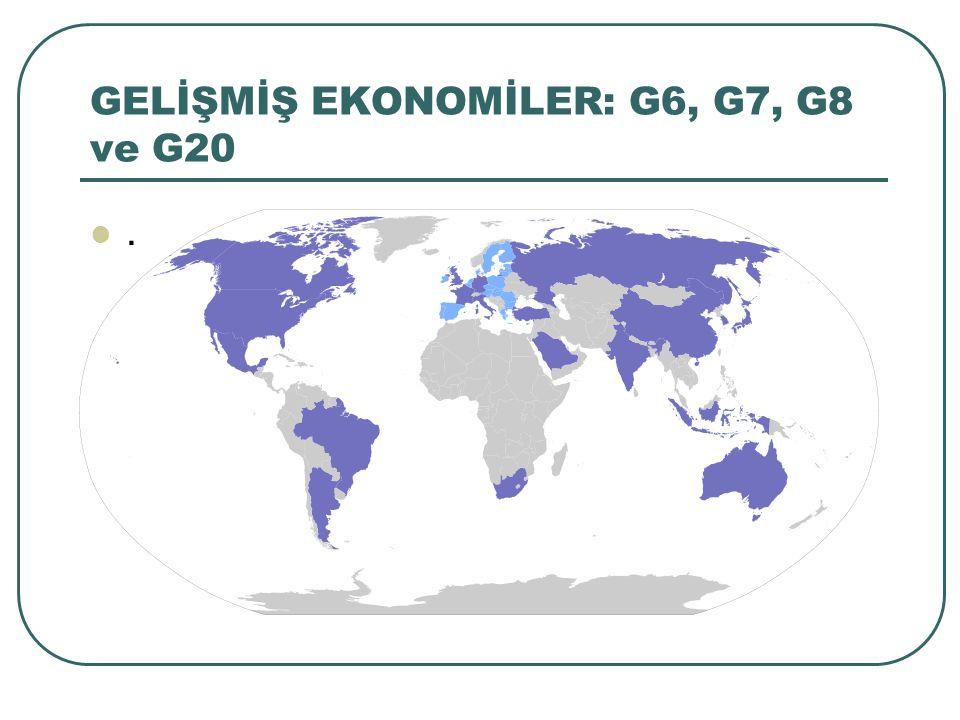 GELİŞMİŞ EKONOMİLER: G6, G7, G8 ve G20.