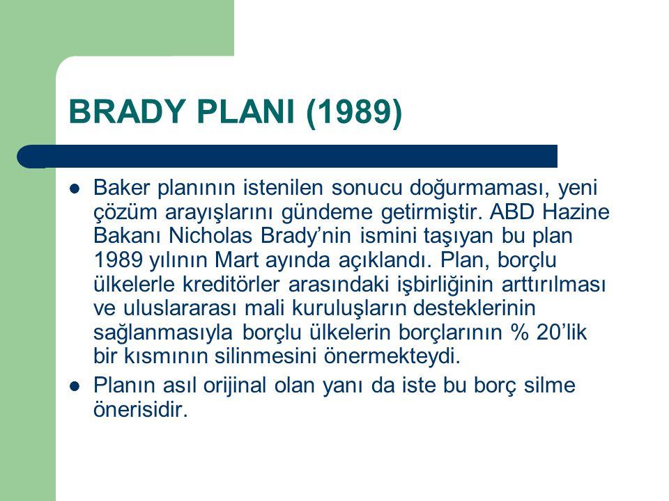 BRADY PLANI (1989) Baker planının istenilen sonucu doğurmaması, yeni çözüm arayışlarını gündeme getirmiştir.