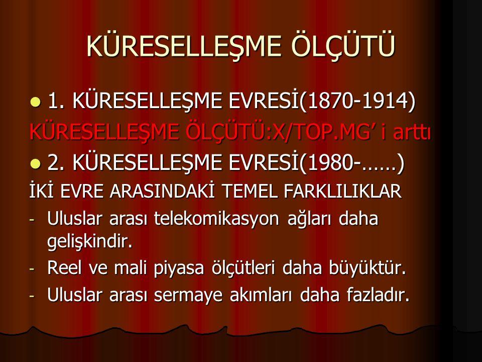 KÜRESELLEŞME ÖLÇÜTÜ 1.KÜRESELLEŞME EVRESİ(1870-1914) 1.