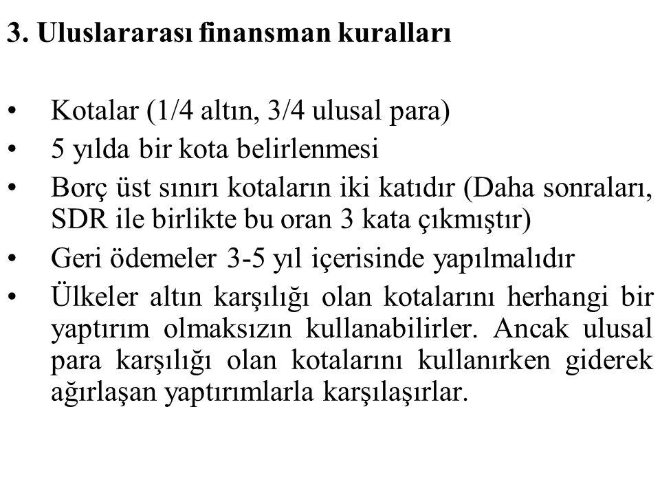 3. Uluslararası finansman kuralları Kotalar (1/4 altın, 3/4 ulusal para) 5 yılda bir kota belirlenmesi Borç üst sınırı kotaların iki katıdır (Daha son