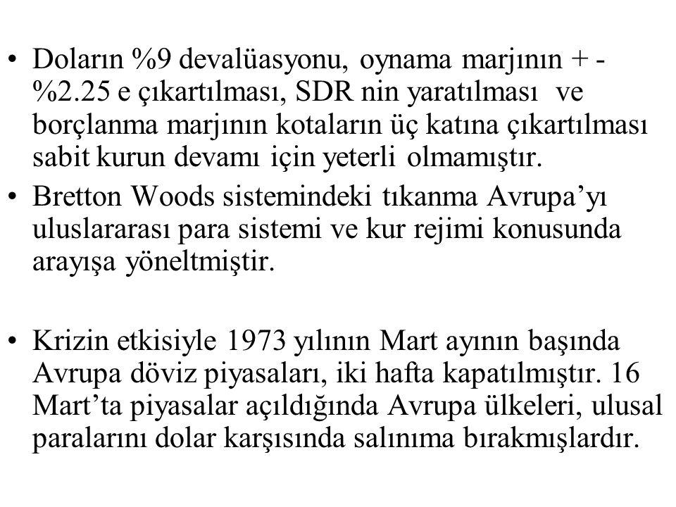 Doların %9 devalüasyonu, oynama marjının + - %2.25 e çıkartılması, SDR nin yaratılması ve borçlanma marjının kotaların üç katına çıkartılması sabit kurun devamı için yeterli olmamıştır.