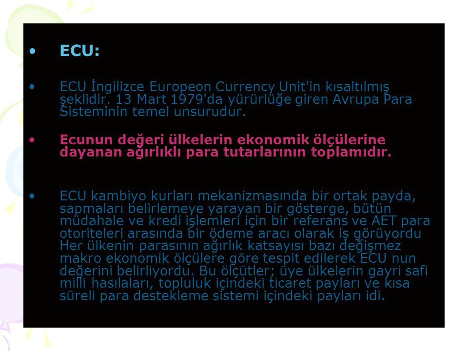 ECU: ECU İngilizce Europeon Currency Unit in kısaltılmış şeklidir.