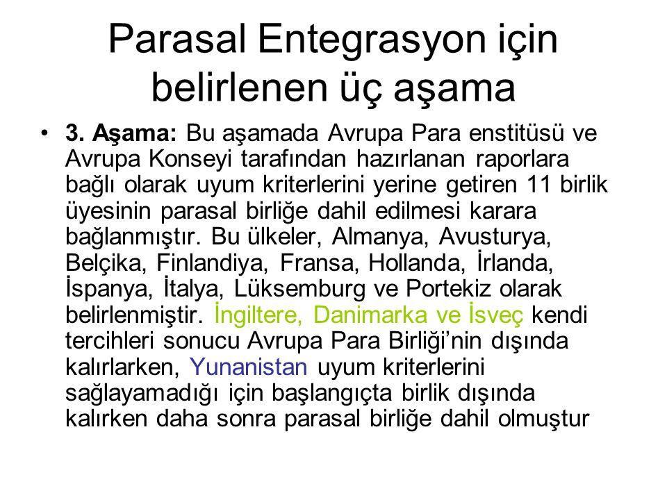 Parasal Entegrasyon için belirlenen üç aşama 3.