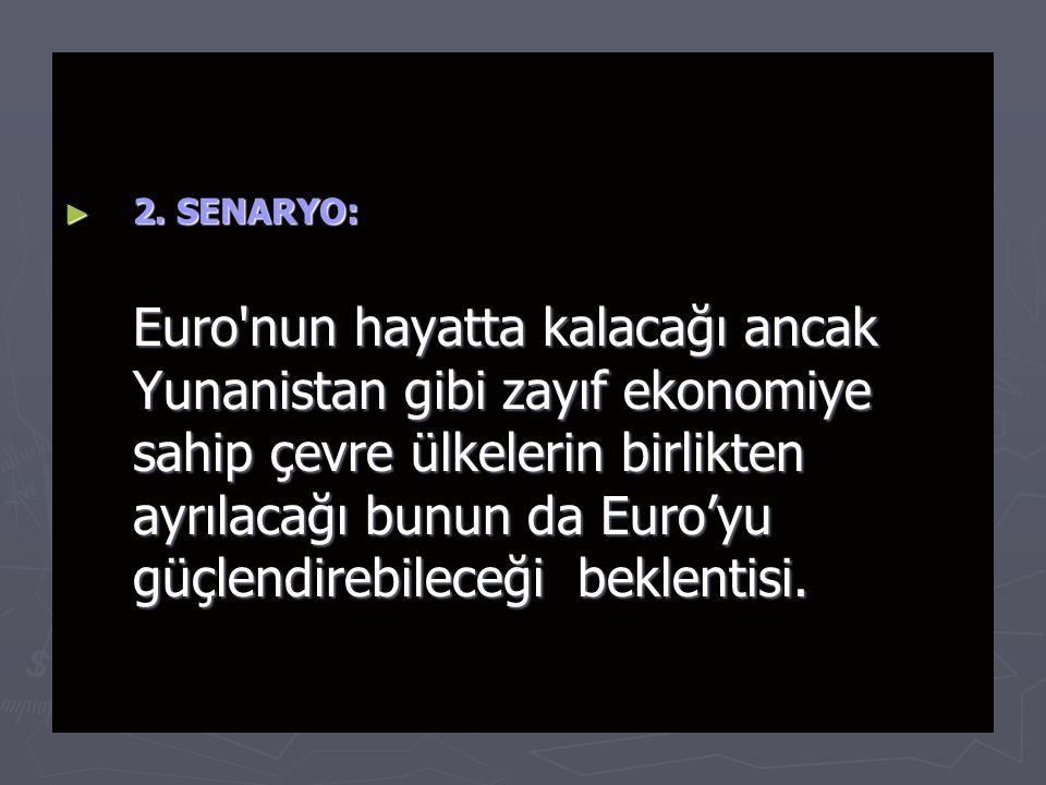 ► 2. SENARYO: Euro'nun hayatta kalacağı ancak Yunanistan gibi zayıf ekonomiye sahip çevre ülkelerin birlikten ayrılacağı bunun da Euro'yu güçlendirebi