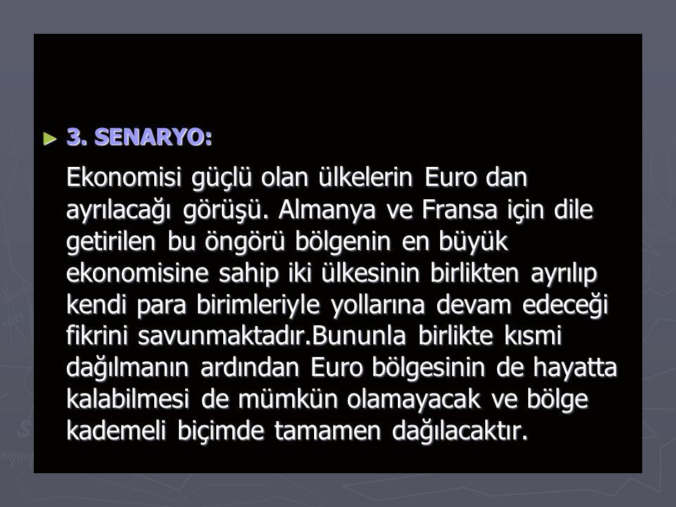 ► 3.SENARYO: Ekonomisi güçlü olan ülkelerin Euro dan ayrılacağı görüşü.