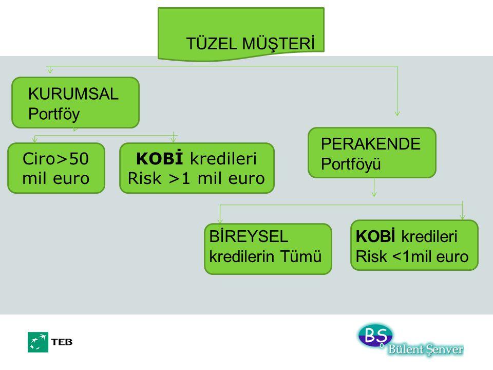 TÜZEL MÜŞTERİ KURUMSAL Portföy PERAKENDE Portföyü KOBİ kredileri Risk <1mil euro BİREYSEL kredilerin Tümü Ciro>50 mil euro KOBİ kredileri Risk >1 mil euro