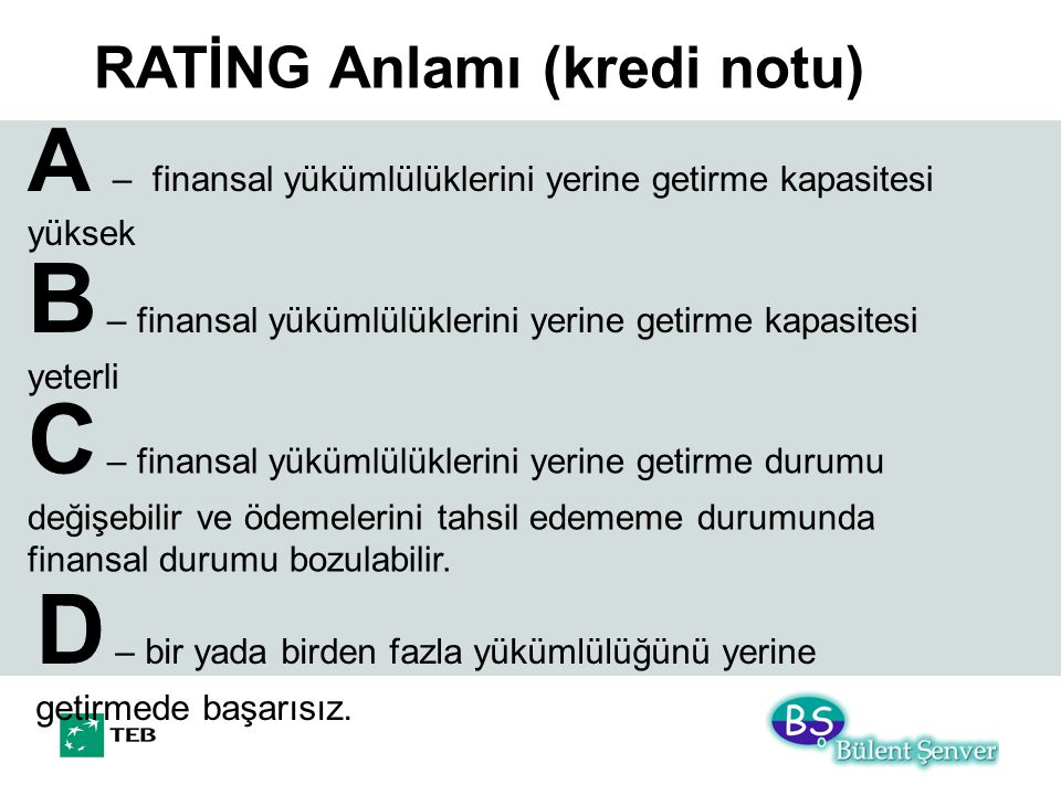 RATİNG Anlamı (kredi notu) A – finansal yükümlülüklerini yerine getirme kapasitesi yüksek B – finansal yükümlülüklerini yerine getirme kapasitesi yeterli C – finansal yükümlülüklerini yerine getirme durumu değişebilir ve ödemelerini tahsil edememe durumunda finansal durumu bozulabilir.