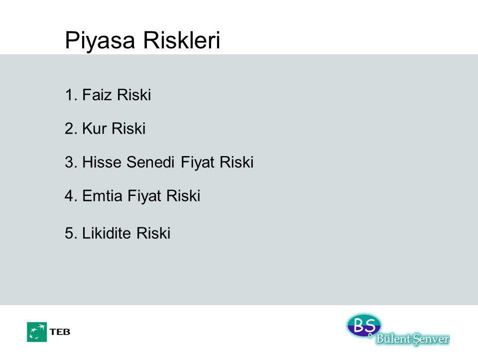 Piyasa Riskleri 1. Faiz Riski 2. Kur Riski 3. Hisse Senedi Fiyat Riski 4. Emtia Fiyat Riski 5. Likidite Riski