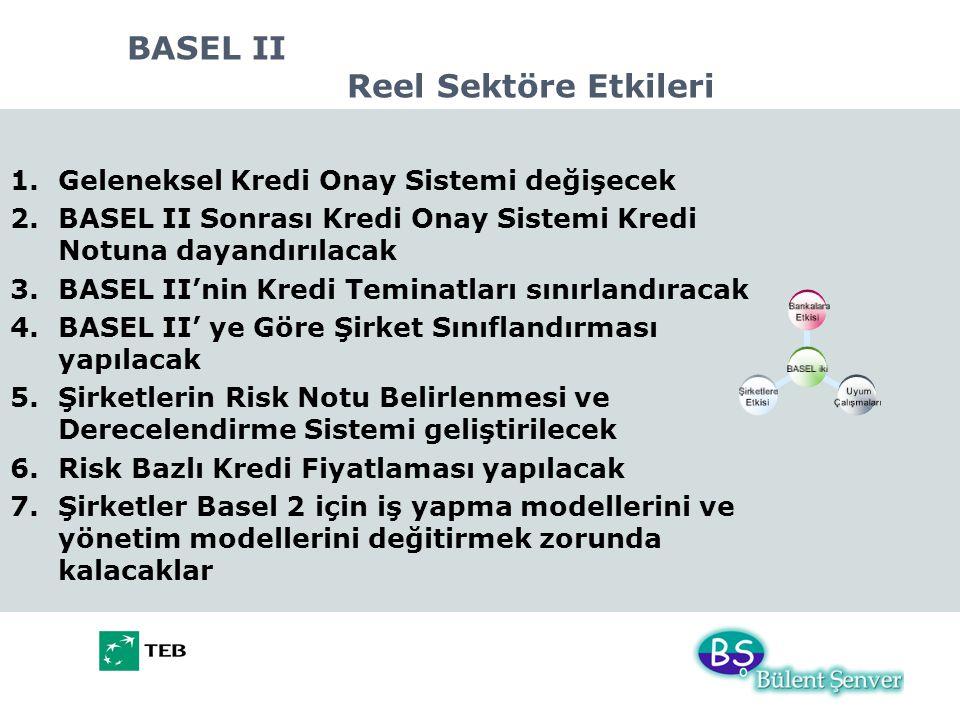 BASEL II Reel Sektöre Etkileri 1.Geleneksel Kredi Onay Sistemi değişecek 2.BASEL II Sonrası Kredi Onay Sistemi Kredi Notuna dayandırılacak 3.BASEL II'nin Kredi Teminatları sınırlandıracak 4.BASEL II' ye Göre Şirket Sınıflandırması yapılacak 5.Şirketlerin Risk Notu Belirlenmesi ve Derecelendirme Sistemi geliştirilecek 6.Risk Bazlı Kredi Fiyatlaması yapılacak 7.Şirketler Basel 2 için iş yapma modellerini ve yönetim modellerini değitirmek zorunda kalacaklar