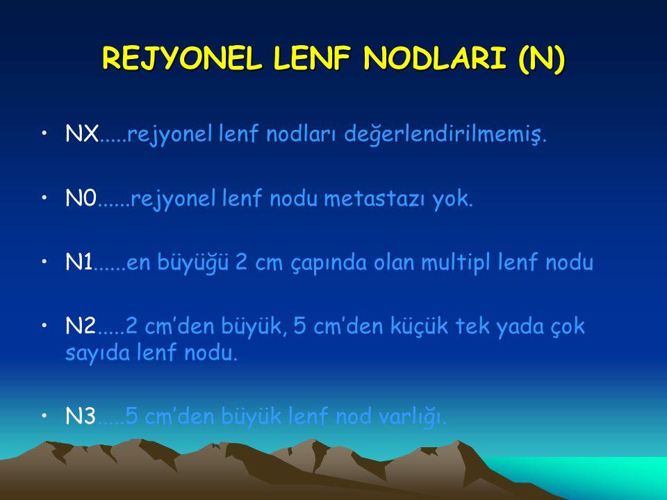 REJYONEL LENF NODLARI (N) NX.....rejyonel lenf nodları değerlendirilmemiş. N0......rejyonel lenf nodu metastazı yok. N1......en büyüğü 2 cm çapında ol