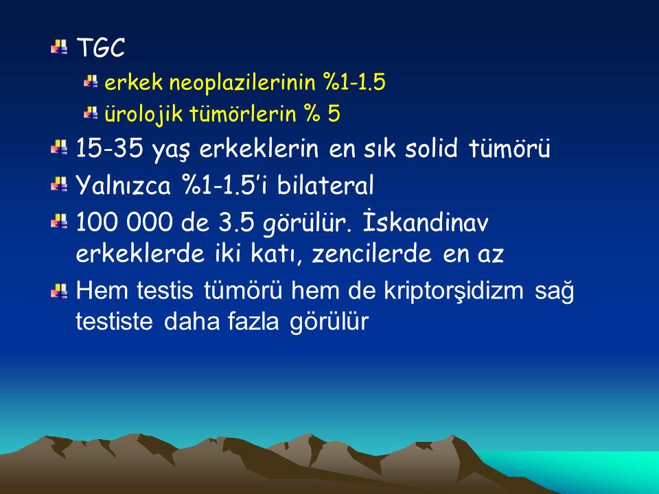 TGC erkek neoplazilerinin %1-1.5 ürolojik tümörlerin % 5 15-35 yaş erkeklerin en sık solid tümörü Yalnızca %1-1.5'i bilateral 100 000 de 3.5 görülür.