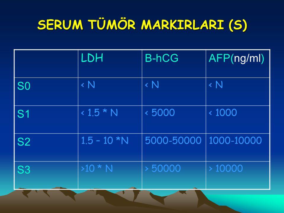 SERUM TÜMÖR MARKIRLARI (S) LDH B-hCGAFP(ng/ml) S0 < N S1 < 1.5 * N< 5000< 1000 S2 1.5 – 10 *N5000-500001000-10000 S3 >10 * N> 50000> 10000